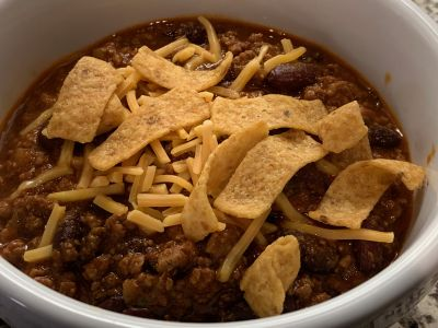 Chili with Cheddar Cheese and Fritos