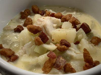 Fish Chowder with Salt Pork Cracklin's