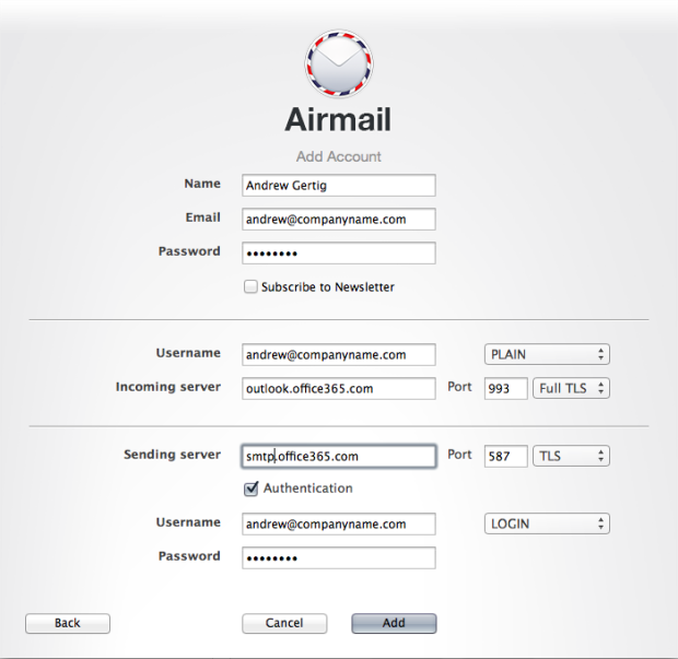 Setting up Airmail for Mac with Office365 com IMAP and SMTP