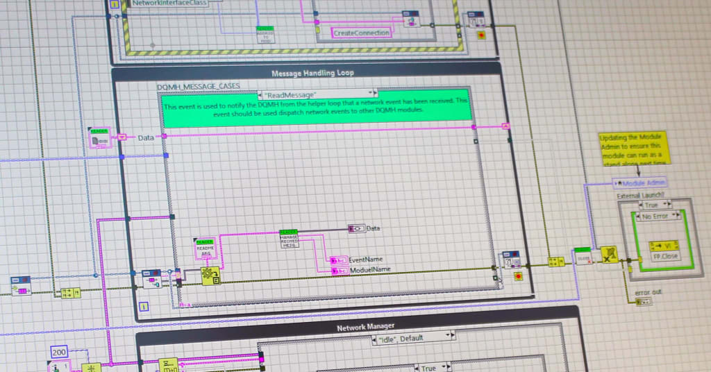 A screenshot showing an example of LabVIEW DQMH Message Cases