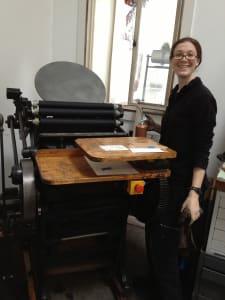 alexia rostow with printing press