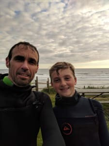 Matt Cameron and his son at the Oregon Coast