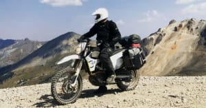 Patrick on dirt bike at Engineer Pass in Colorado