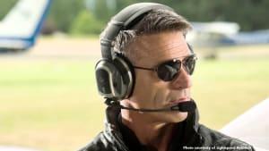 Image of Model pilot wearing the LIGHTSPEED TANGO Wireless Headset