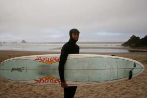 Matt Cameron with surfboard