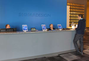 front desk sign in at sigmadesign