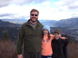 Henry Hohn and his kids at Hamilton Mtn.
