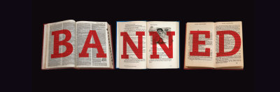 Three books with BANNED superimposed in red