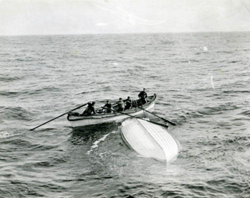Collapsible B, the overturned lifeboat on which Gracie and 30 other men stood for hours awaiting rescue.