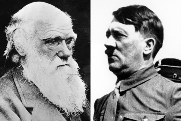 Charles Darwin black and white headshot next to Adolf Hitler black and white headshot
