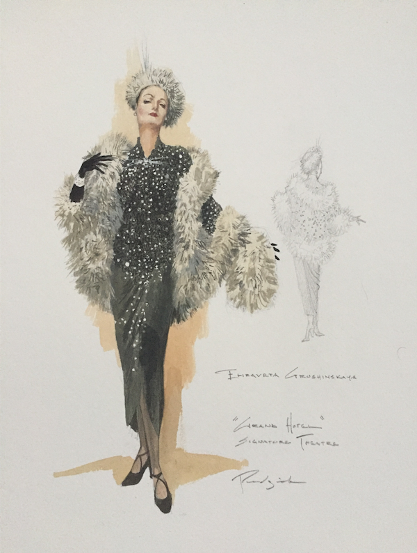 costume design for Elizaveta Grushinskaya: elegant middle-aged woman waring black drop-waist gown with rhinestones and white faux-fur wrap, black gloves, white faux-fur hat