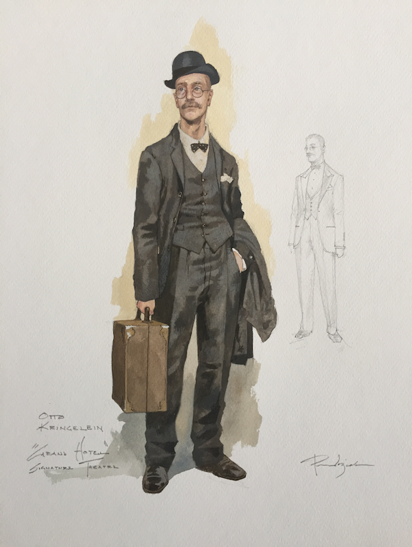 costume design for Otto Kringelein: middle-aged man with full mustache wearing a black vintage suit and bowler hat
