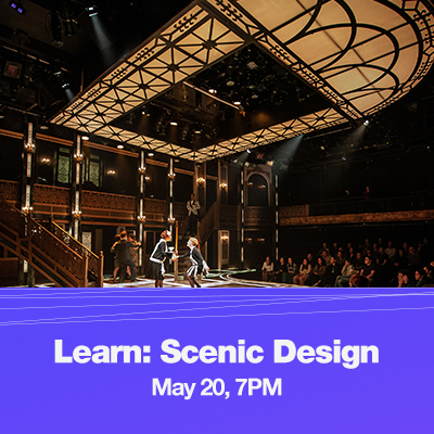 Image of the art deco set of Grand Hotel with text that reads Learn: Scenic Design, May 20, 7PM