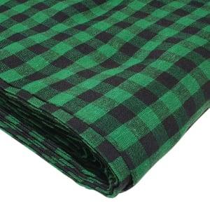 gingham black and green turban