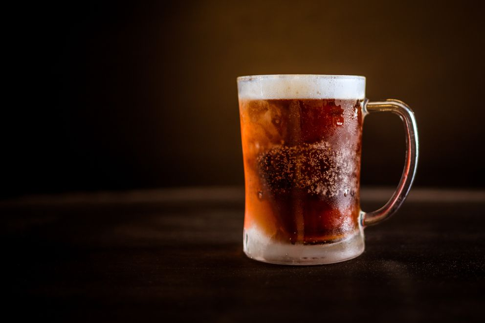 beer in a frosted mug