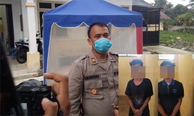 Kapolsek Bangun AKP B Manurung saat memberikan keterangan kepada wartawan di depan Ruang Jenazah RSUD dr Djasamen Saragih, Rabu 8 April 2020, sore. (Insert foto kedua pelaku RBP dan MA).