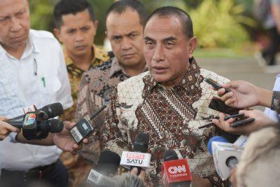 Gubernur Sumut Edy Rahmayadi, menjawab pertanyaan wartawan di Halaman Istana Kepresidenan, Provinsi DKI Jakarta.