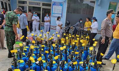 Tim penyemprotan  Disinfektan Pemkab Simalungun diberangkatkan dari Puskesmas Rambung Merah, Selasa 24 Maret 2020.