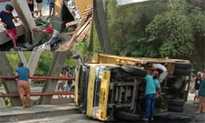 Lokasi truk terguling menimpa pegawai PDAM Tirta Lihou sedang memperbaiki pipa yang bocor di Jembatan Siserasera Kecamatan Girsang Sipangan Bolon, Kamis 5 Maret 2020.