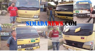 Supir dan truk pengangut monza ilegal yang diamankan di Mapolsek Panai Tengah Kabupaten Labuhanbatu, Senin 16 Maret 2020.