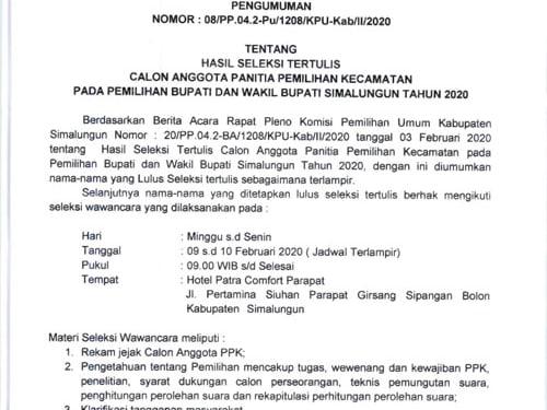 Pengumuman KPU Simalungun yang mengumumkan jadwa pelaksanaan seleksi wawancara calon anggota PPK.
