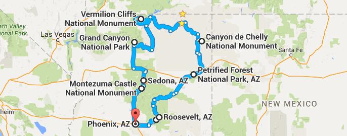 Map Of Arizona And Utah National Parks.Arizona Roadtrippin 5 Days In Arizona And A Little Bit Of Utah