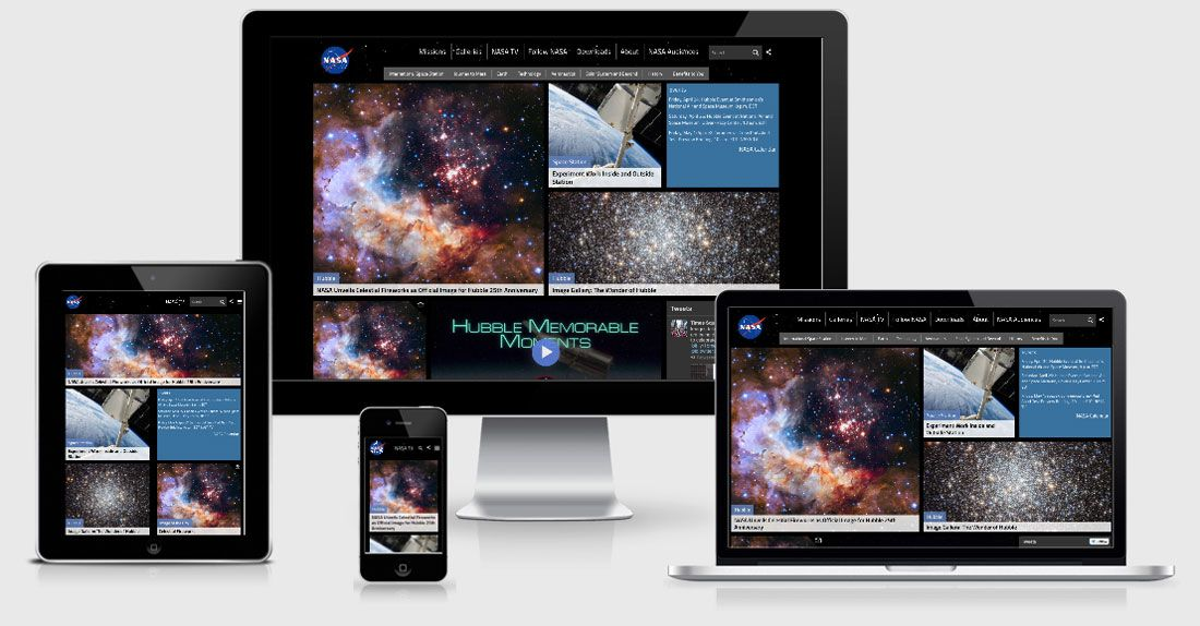 NASA website across 4 viewports