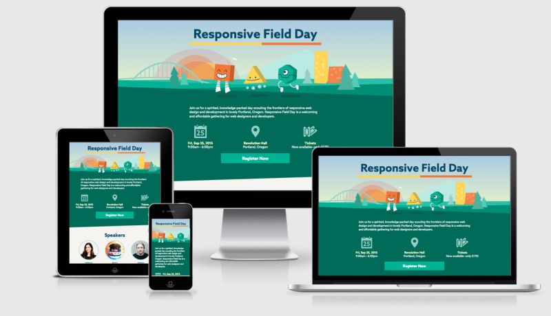 Responsive Field Day seen in 4 viewports