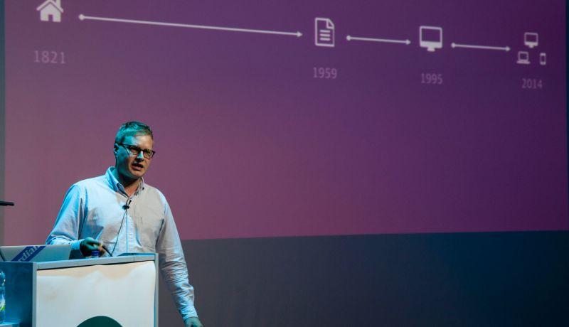 Patrick Hamann speaking on stage