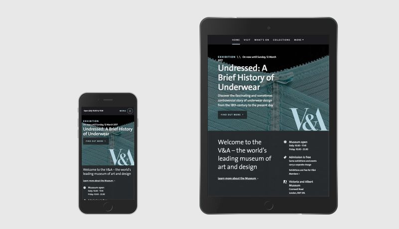 Victoria and Albert Museum across mobile and tablet views