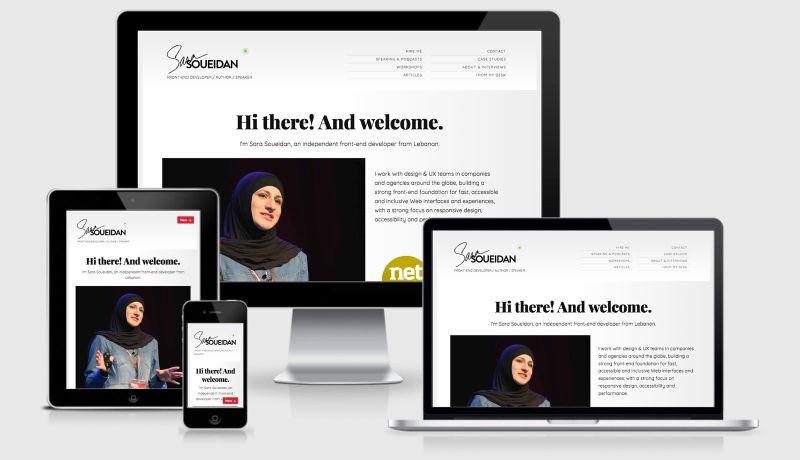 Sara Soueidan Portfolio Site Across Four Viewports