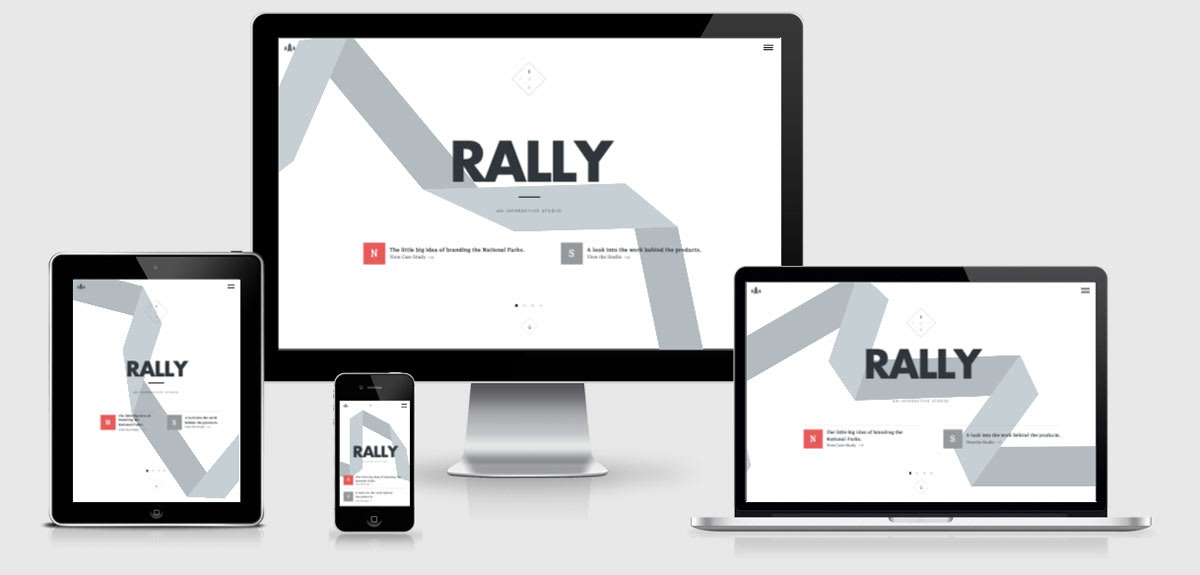 Rally Interactive Responsive site across 4 devices
