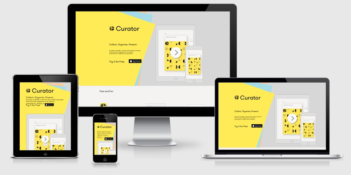 Curator App in four different responsive viewports