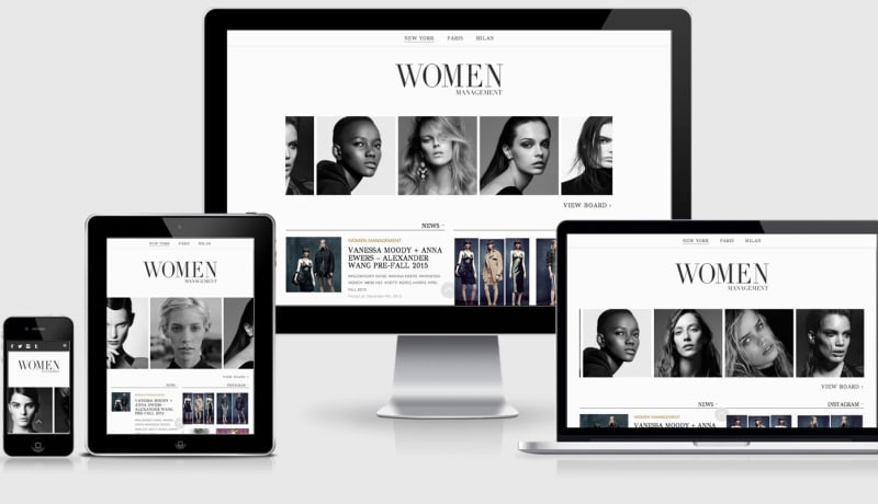 Womens Management Fashion website across 4 devices