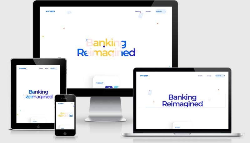 Banking reimagined website seen across four screen viewports