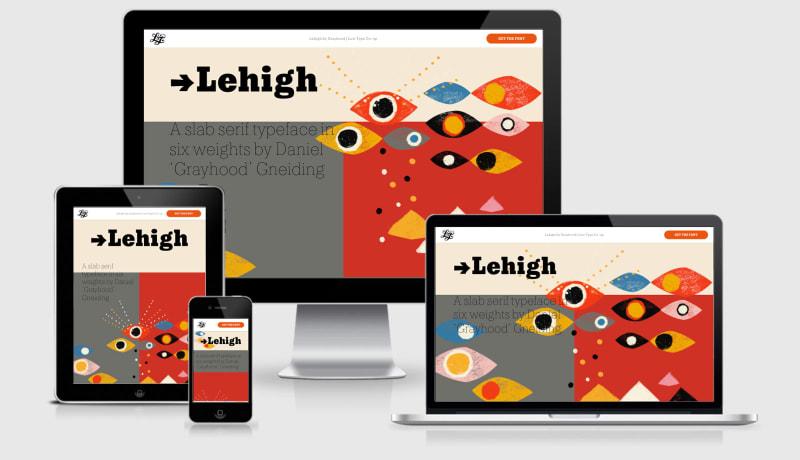 Lehigh Font responsive across 4 viewports