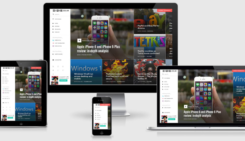 Wired home page across a variety of devices