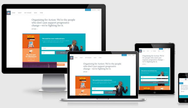 Barack Obama website across 4 viewports