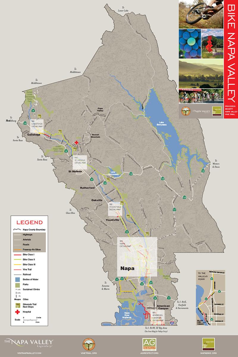 Napa Valley Bike Map Recreation Napa Valley Vine Trail