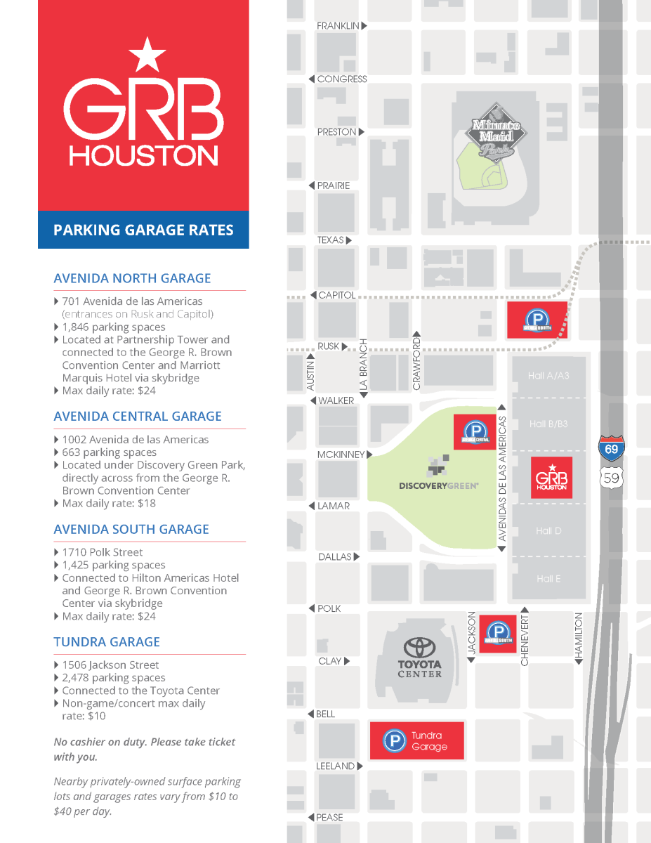 Downtown Houston Parking Maps George R Brown Convention Center