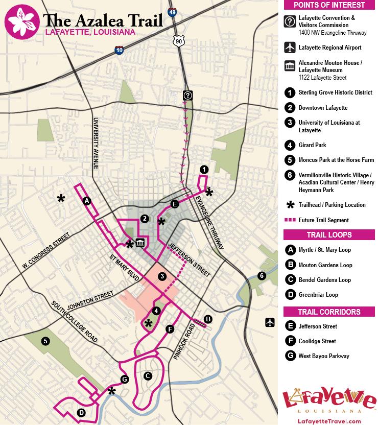Lafayette LA Azalea Trail Map Info Lafayette Trip Ideas