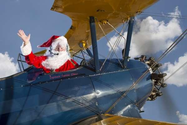 Stearman Santa Lands at the Lone Star Flight Museum