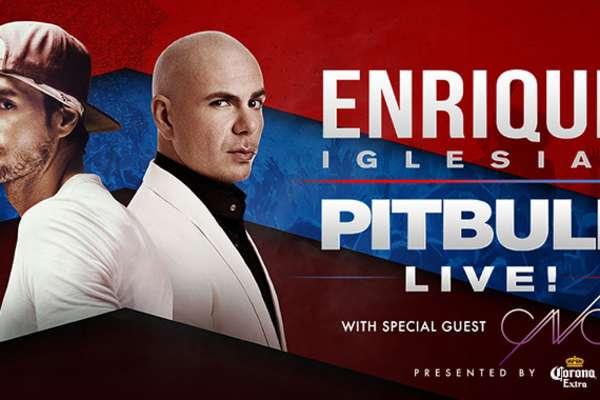 Enrique Iglesias y Pitbull en concierto