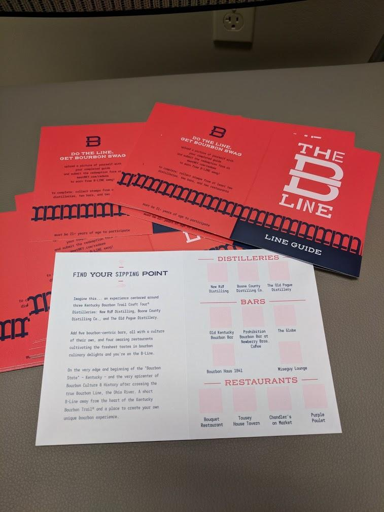B-Line Line Guides, paper bourbon tour passports colored red white and blue