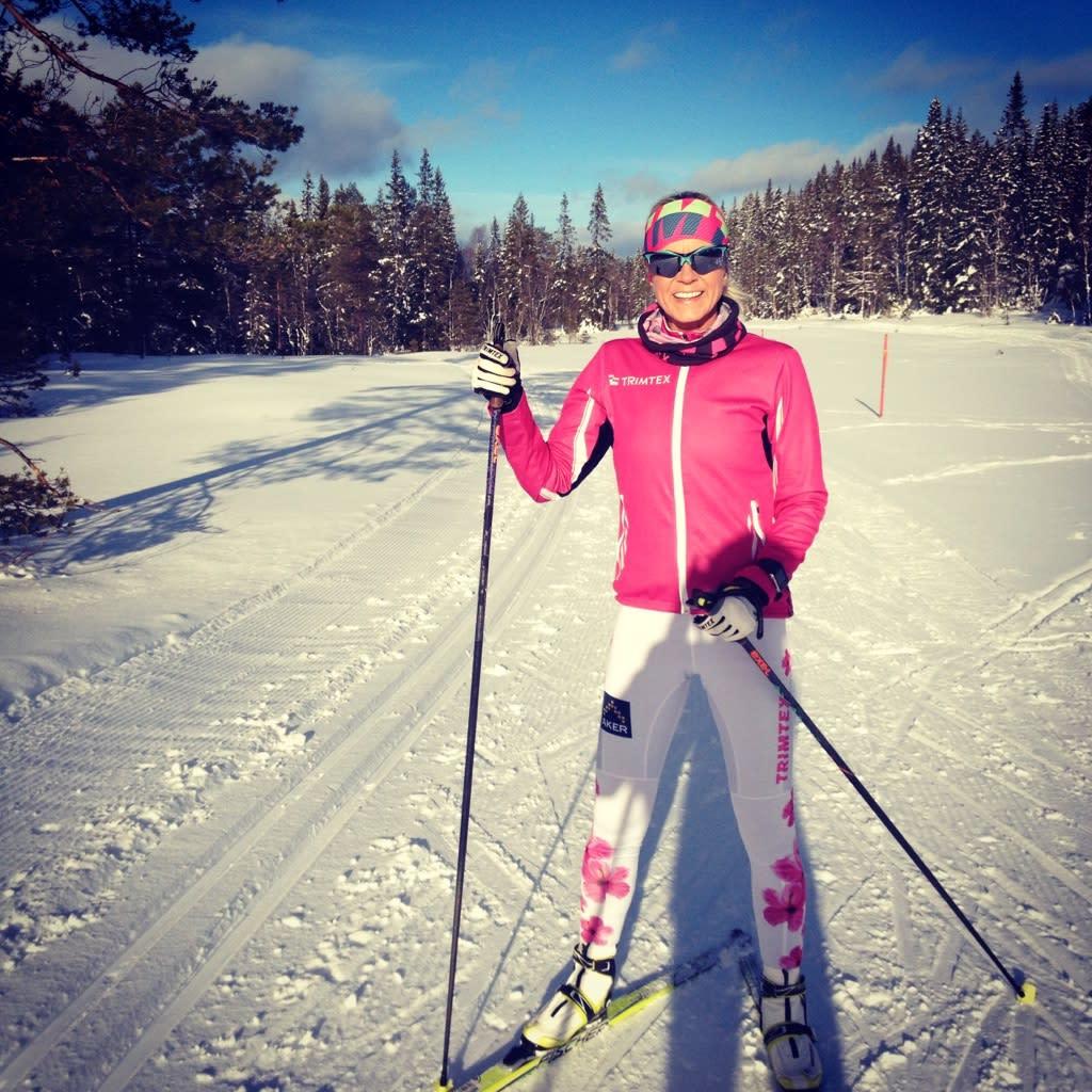 Solveig Pedersen skiing in Southern Norway