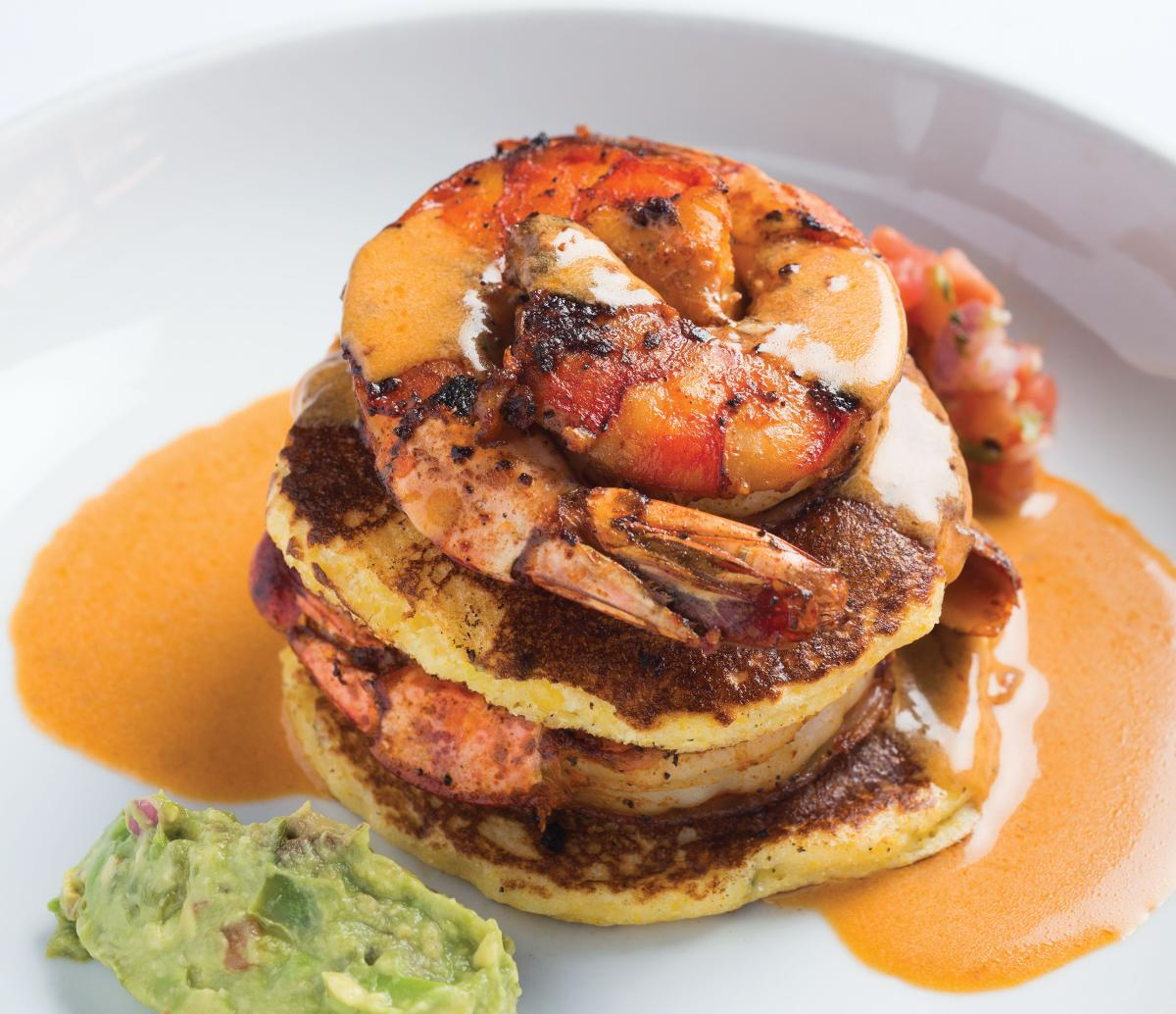 Coyote Cantina's Chipotle Shrimp with Corn Cakes.