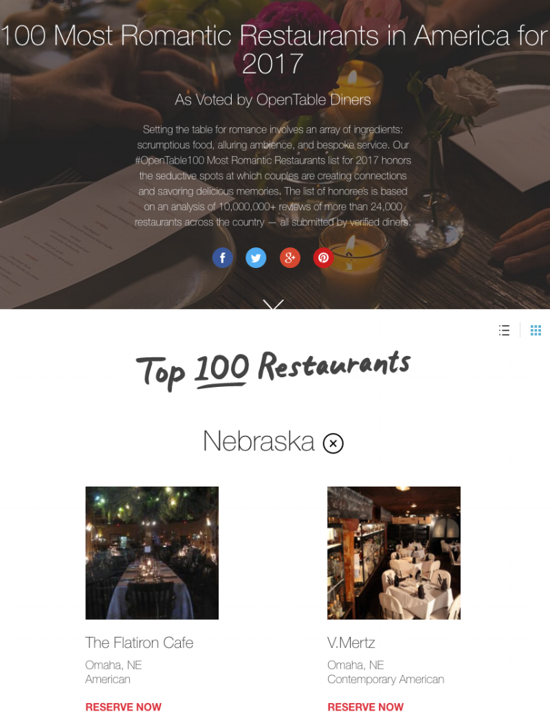 100 Most Romantic Restaurants - NE