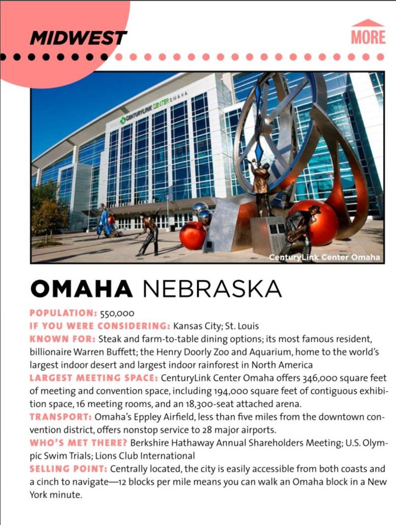 Omaha, NE in BizBash Venue Issue