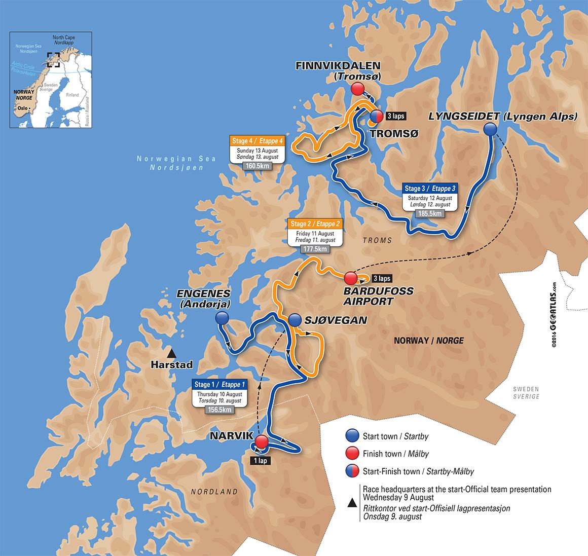 Arctic Race Of Norway Visit Norway - Norway lakes map