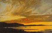 Credit: Frederic E. Church, Sunset, Bar Harbor, detail, c. September 1854, oil on paper mounted on canvas, 10 1/8 x 17 ¼ in., OL.1981.72.  Collection of Olana State Historic Site.